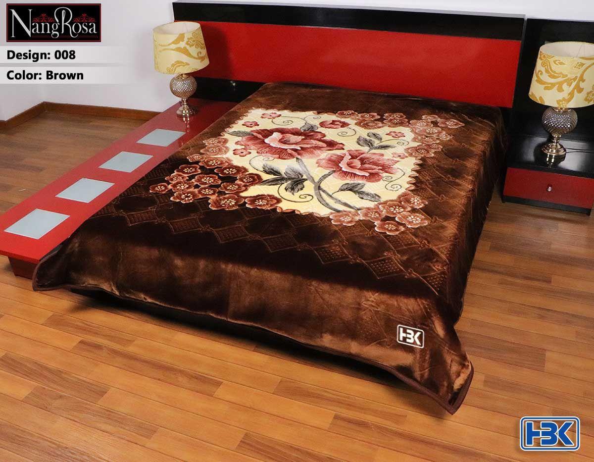 Brown NangRosa 2 Ply Double Bed Embossed Blanket - 008