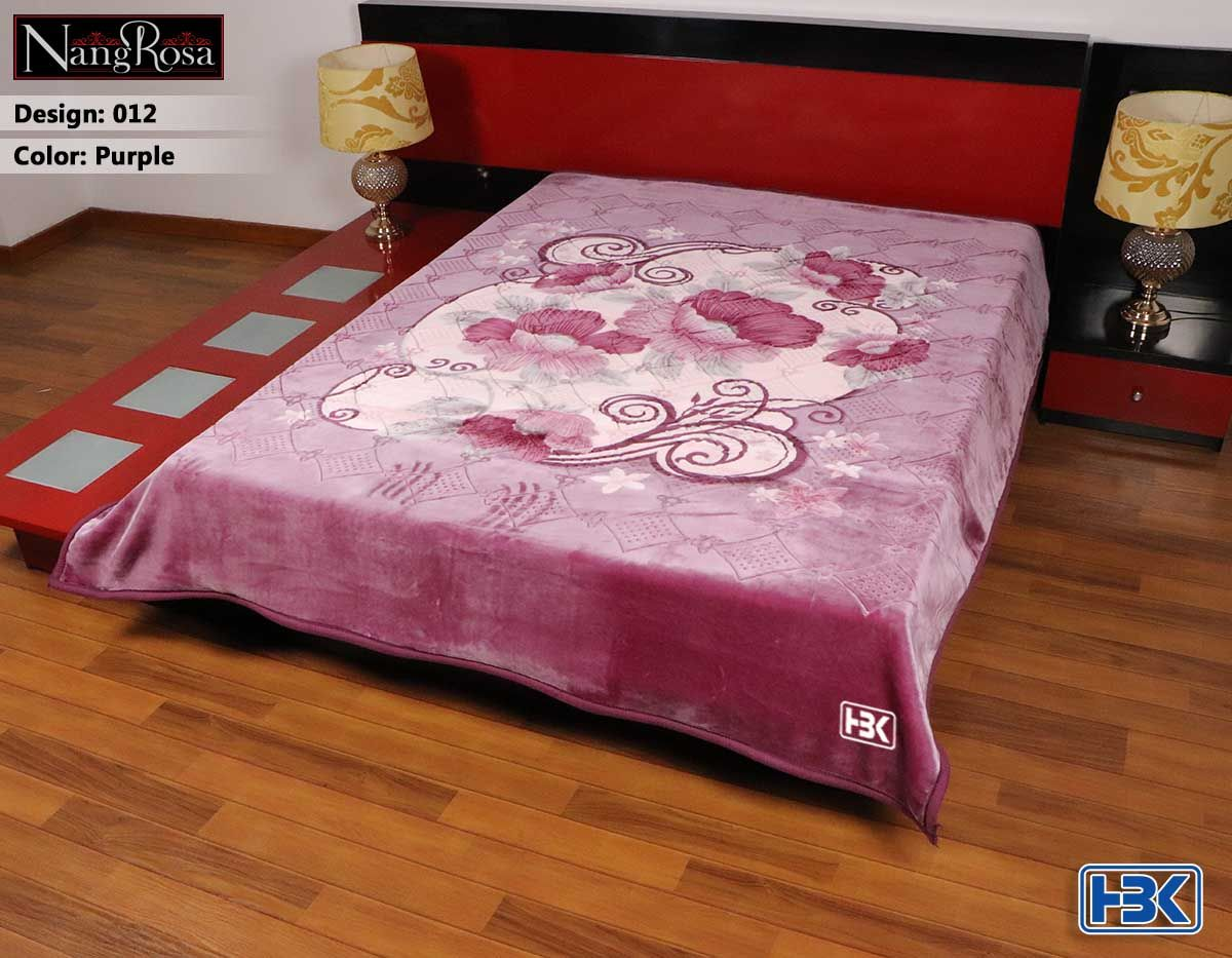 Purple NangRosa 2 Ply Double Bed Embossed Blanket - 012