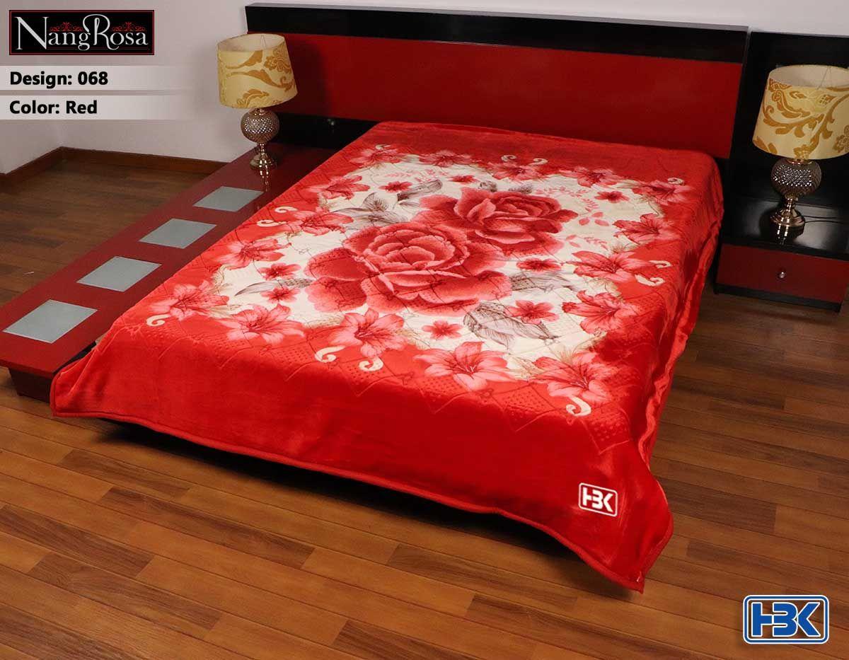 NangRosa Red 2 Ply Double Bed Embossed Blanket - 068