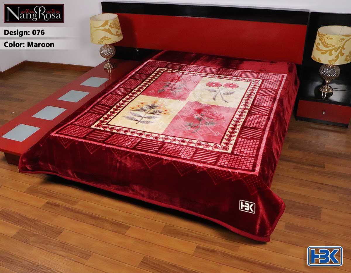Maroon NangRosa 2 Ply Double Bed Embossed Blanket - 076