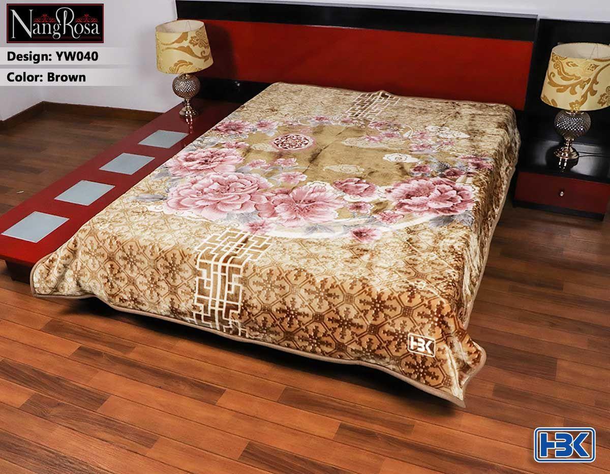 NangRosa Brown 2Ply Double Bed Embossed Blanket - YW040