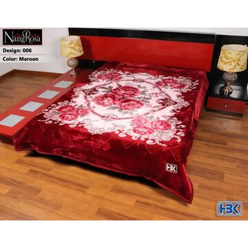 Maroon NangRosa 2 Ply Double Bed Embossed Blanket