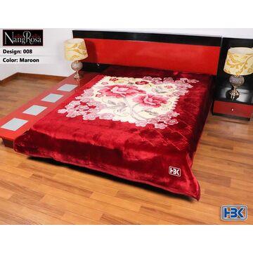 Maroon NangRosa 2 Ply Double Bed Embossed Blanket - 008