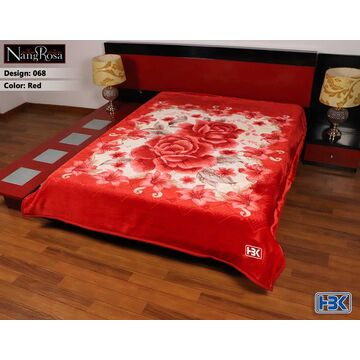 068 NangRosa Red 2 Ply Double Bed Embossed Blanket