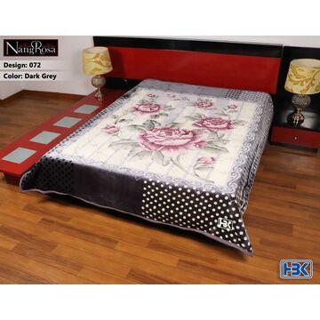 NangRosa Dark Grey 2 Ply Double Bed Embossed Blanket - 072