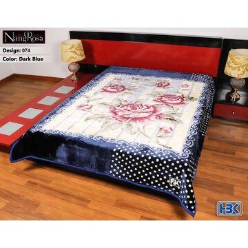 NangRosa Dark Blue 2 Ply Double Bed Embossed Blanket - 074