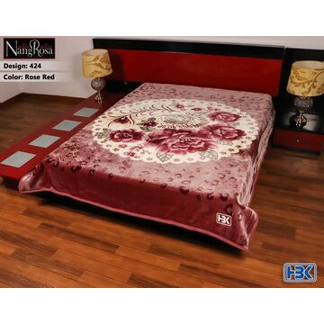 NangRosa Rose Red 2Ply Double Bed Embossed Blanket - 424