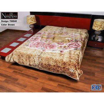 YW040 NangRosa Brown 2Ply Double Bed Embossed Blanket